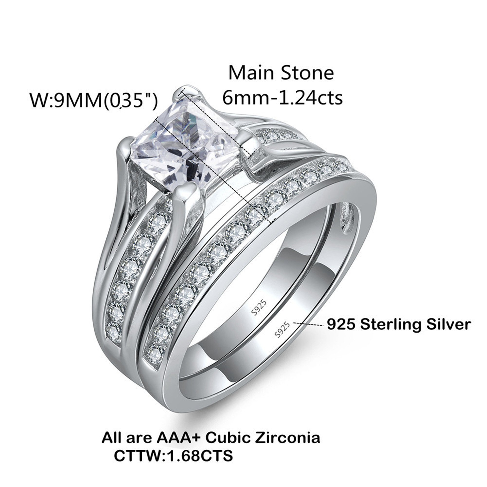 Details about  /Classic Three Zircon Stone Two Tone Woman Christmas Wedding Solitaire Ring Gift