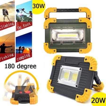 Waterproof 20W/30W Portable COB LED Work Light USB Rechargeable Outdoor Camping (Best Led Work Light)