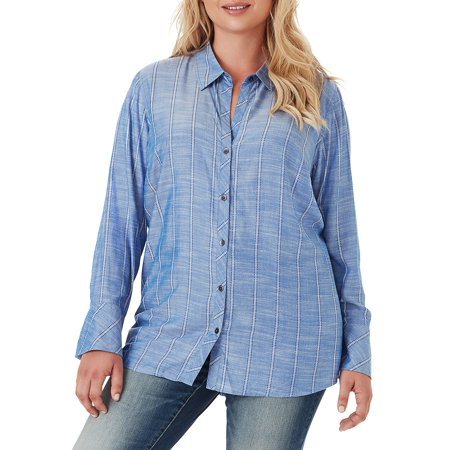 Plus Xavier Smocked-Back Relaxed-Fit Button-Down