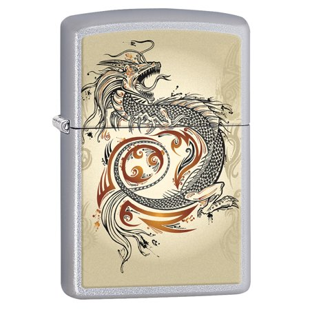 Zippo Lighter: Dragon Tattoo - Satin Chrome