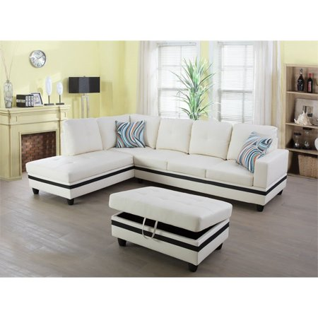 Magnificent Ruscal Faux Leather Sectional Sofa With Ottoman In White Machost Co Dining Chair Design Ideas Machostcouk