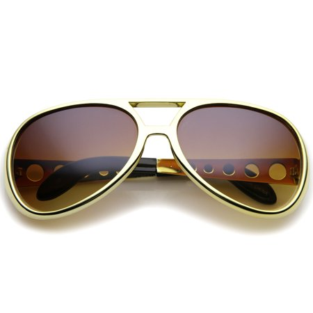 Large Elvis King Of Rock & Roll Aviator Sunglasses 63mm (Gold / (King Seven Sunglasses)