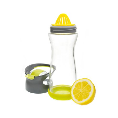Full Circle Wherever Water 20 Oz. Lemon Glass Travel Bottle, Lime Green