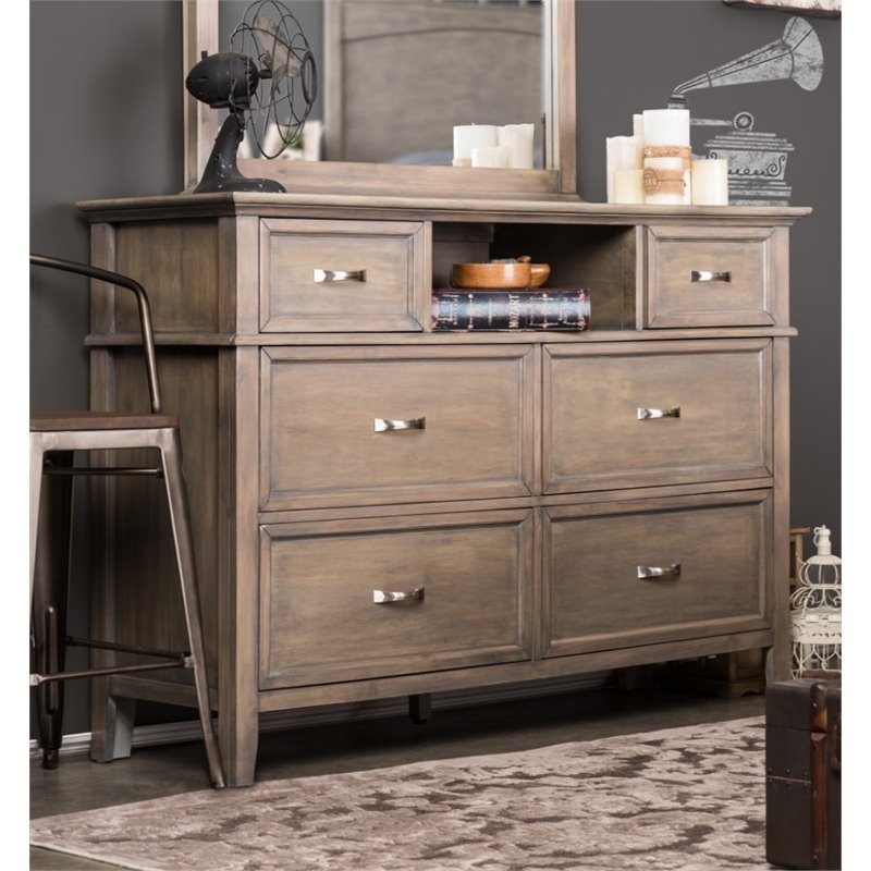 Furniture of America Ackerson 6 Drawer Dresser in Weathered Oak