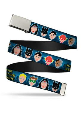 Blank Chrome Buckle The Justice League 1 Bit 7 Superhero Faces Blues Web Belt