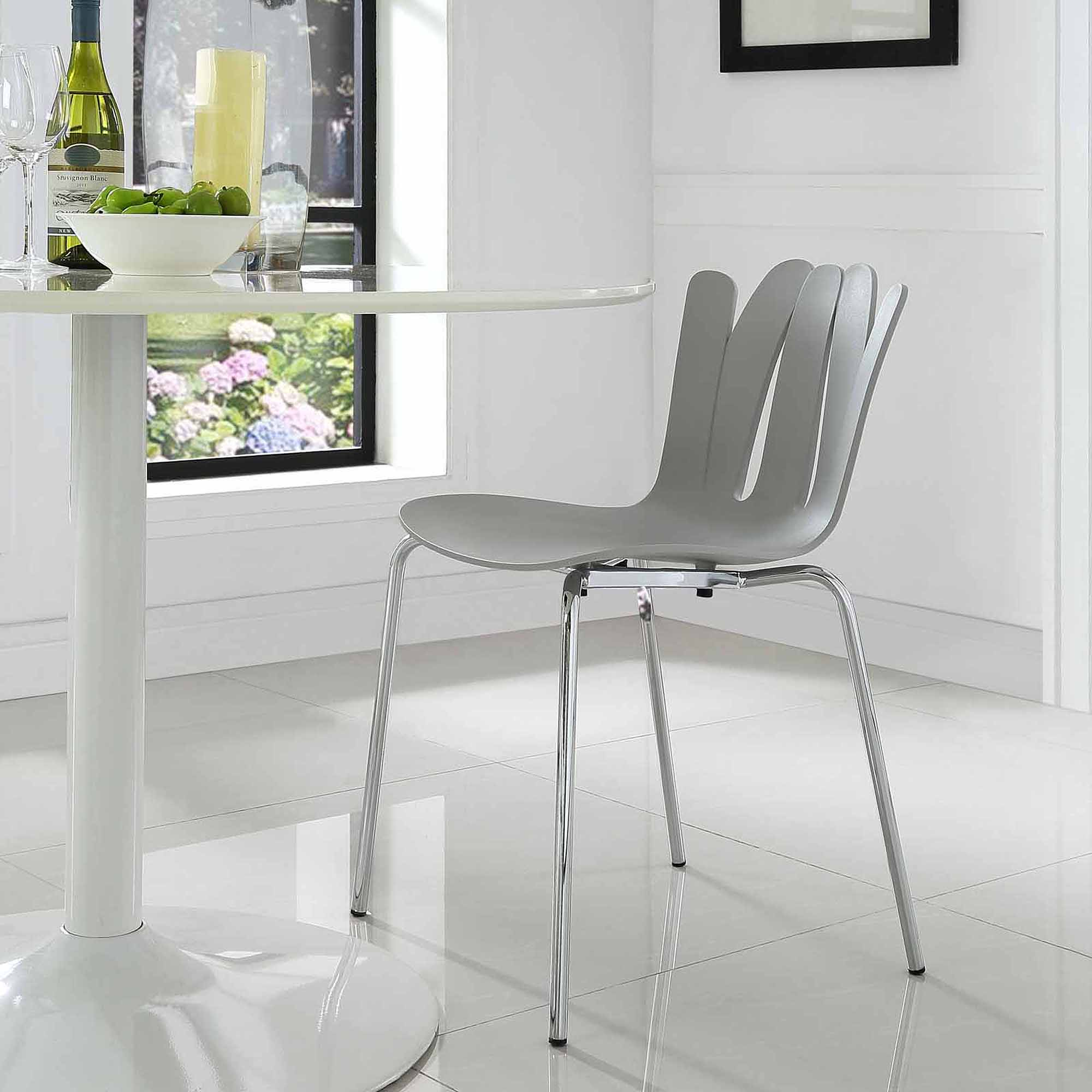 Modway Flare Dining Side Chair with Steel Legs, Multiple Colors