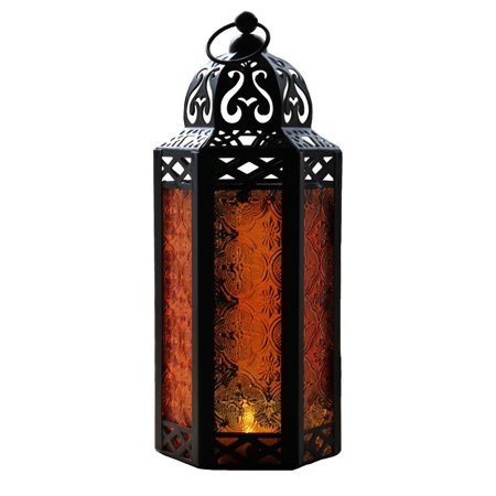 Amber Glass Decorative Moroccan Style Candle Lantern ()