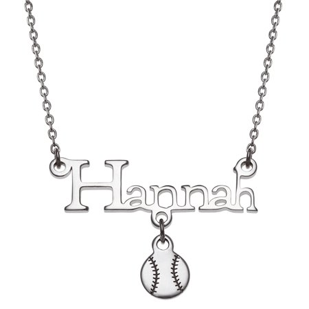 Personalized Girls's Sterling Silver or Gold over Silver Name With Baseball Charm Necklace, 18+2