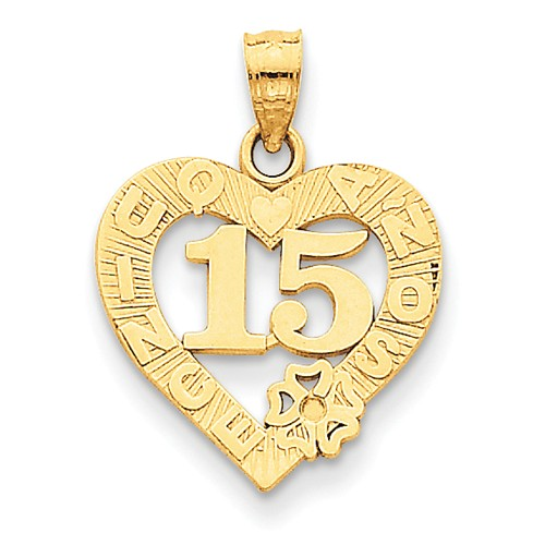 14k Yellow Gold Sweet 15 in Quince Anos Heart Frame Pendant