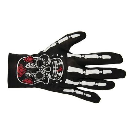 Wrist Skeleton Day Of The Dead Womens Adult Costume Gloves - Skeleton Wrist