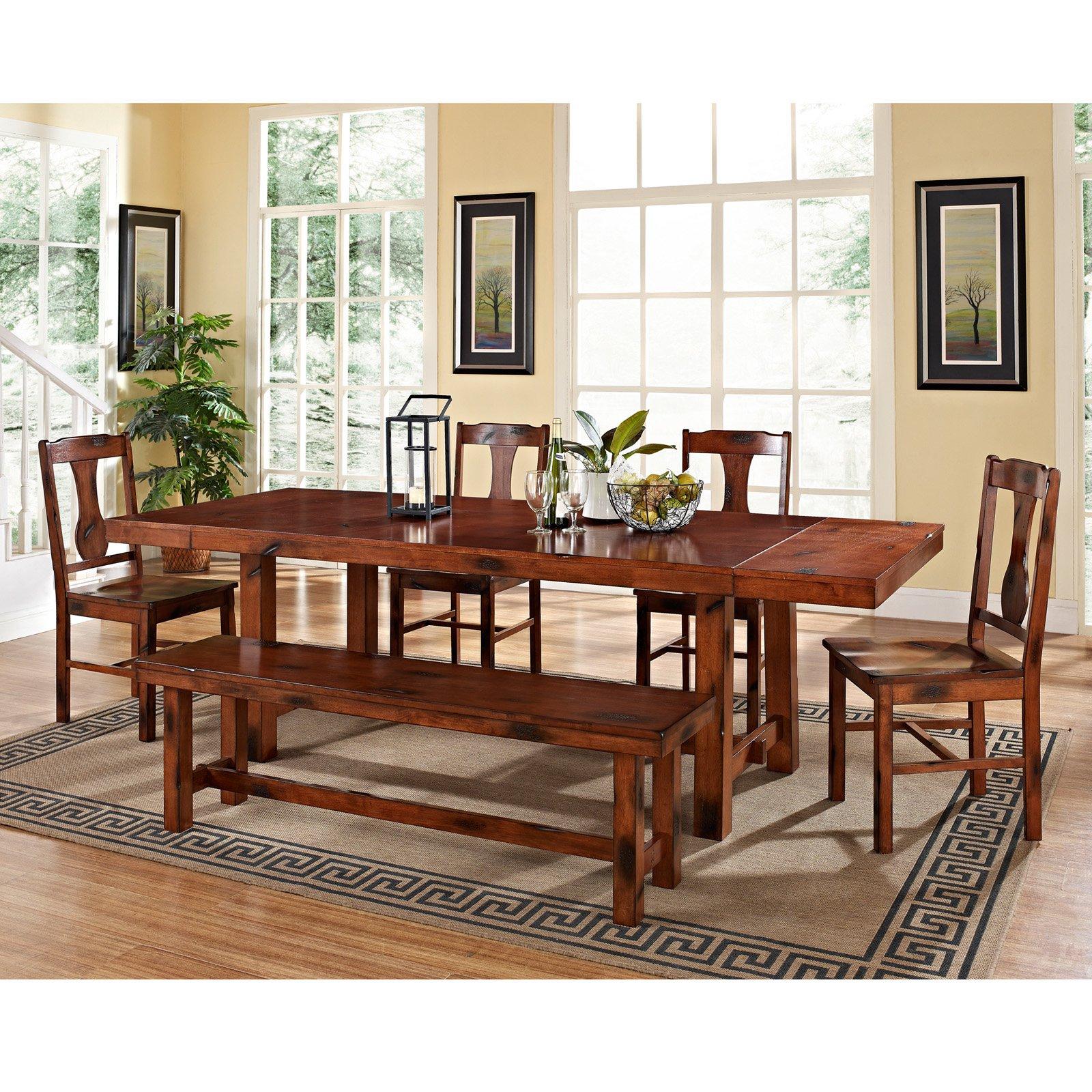 6-Piece Wood Dining Set, Dark Oak (Box 1 of 3)