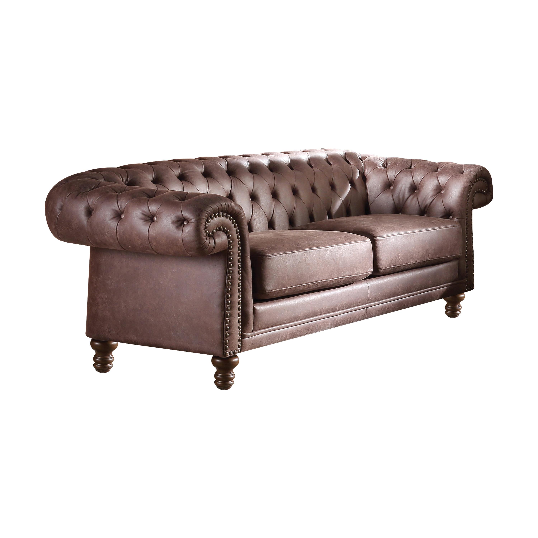 Acme Shantoria II Sofa in Brown Polished Microfiber