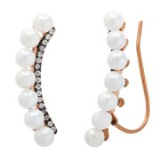Lesa Michele Cubic Zirconia and Graduated Fresh Water Pearl Two-Tone Sterling Silver Climber Earrings