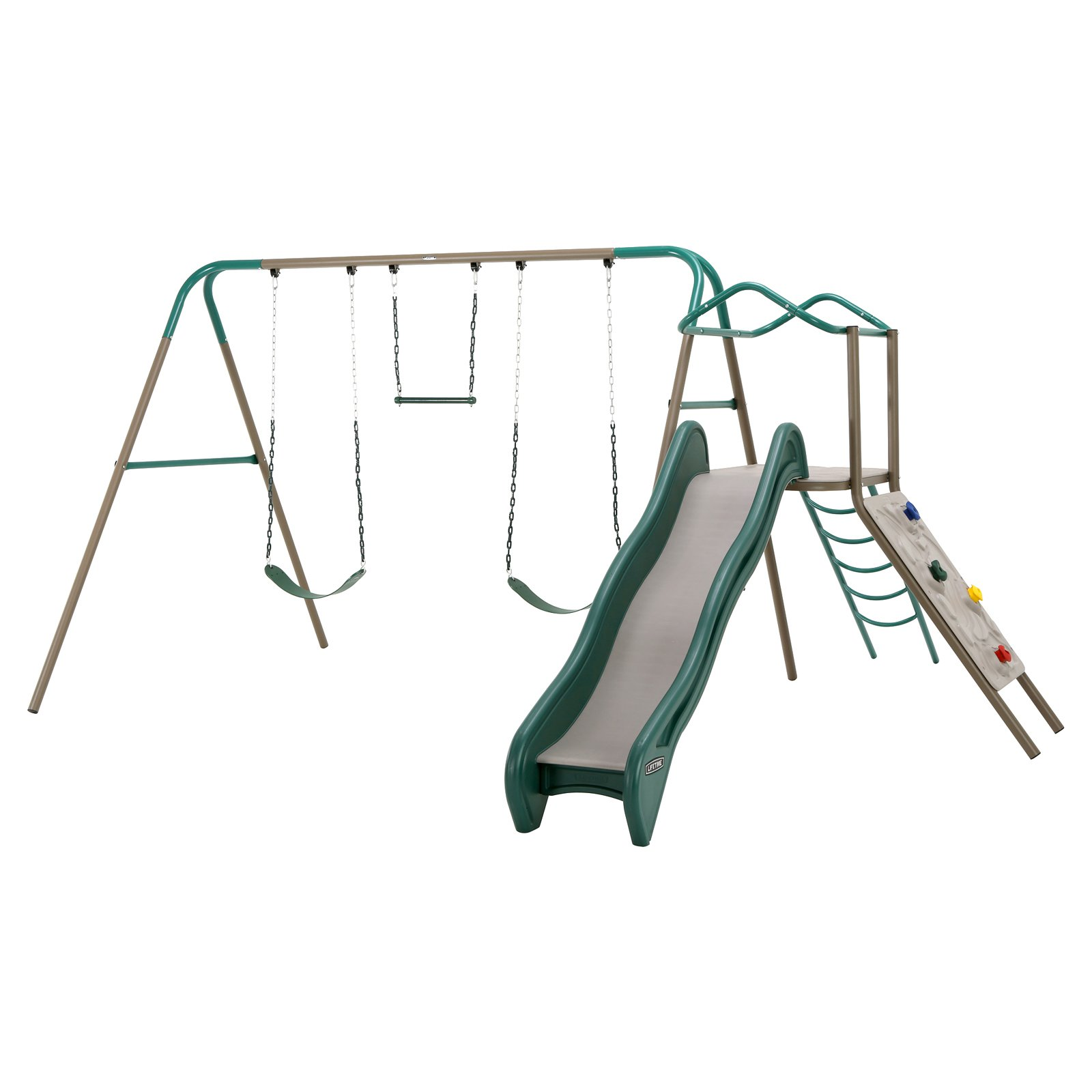 complete lifetime boasts wall lower a and climber with playful two low playhouse swings set best poly play living it sets double maintenance clubhouse naturally comes today family swing for kids durable this outdoor level backyard the slide
