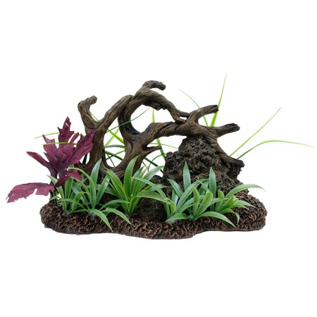 Marina Twisted Driftwood Aquarium Ornament with Rock and Plants,
