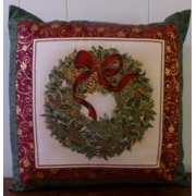 Christmas Decorative Pillow Cover, Christmas Wreath, Beautiful with Pine, Holly and Berries, and Red Bow