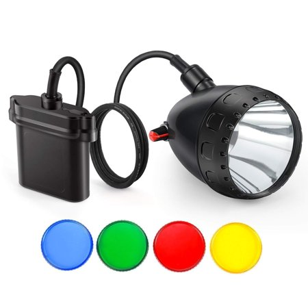 Kohree 10W Cree LED Dimmable Hog Coyote Coon Hunting Light Rechargeable Predator Hunting Mining Headlight with 4 Optical Filters, Charger kit.