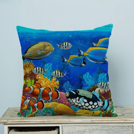 GCKG Sea Seabed Fish Corals Underwater Ocean Tropical Pillow Case Pillow Cover Pillow Protector Two Sides 18 x 18 Inches Fish Needlepoint Pillow