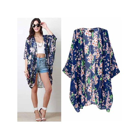 VICOODA Women Fashion Seaside Kimono Cardigan Floral Printed Long Loose Blouses Top Cover Up Beach Cardigan ()