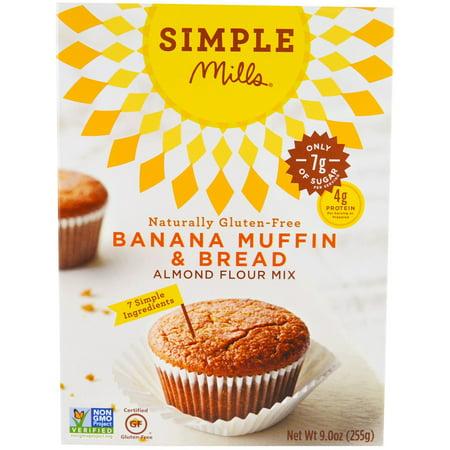 Simple Mills, Naturally Gluten-Free, Almond Flour Mix, Banana Muffin & Bread, 9 oz (pack of 3) (Almond Flour Muffins)