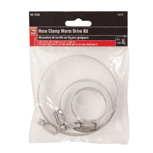 Bulldog Hose Clamp Worm Drive Kit, 3pc