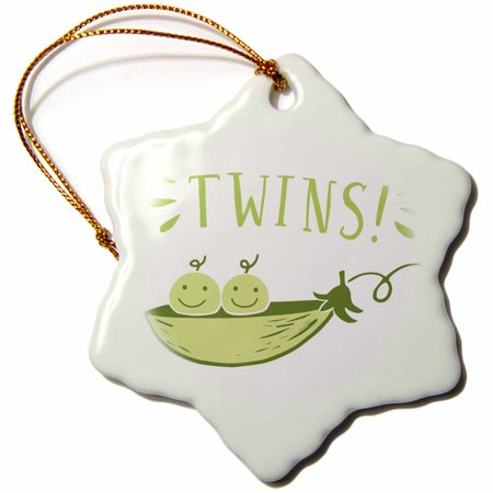 3dRose Twins, picture of two peas in a pod with green lettering - Snowflake Ornament,