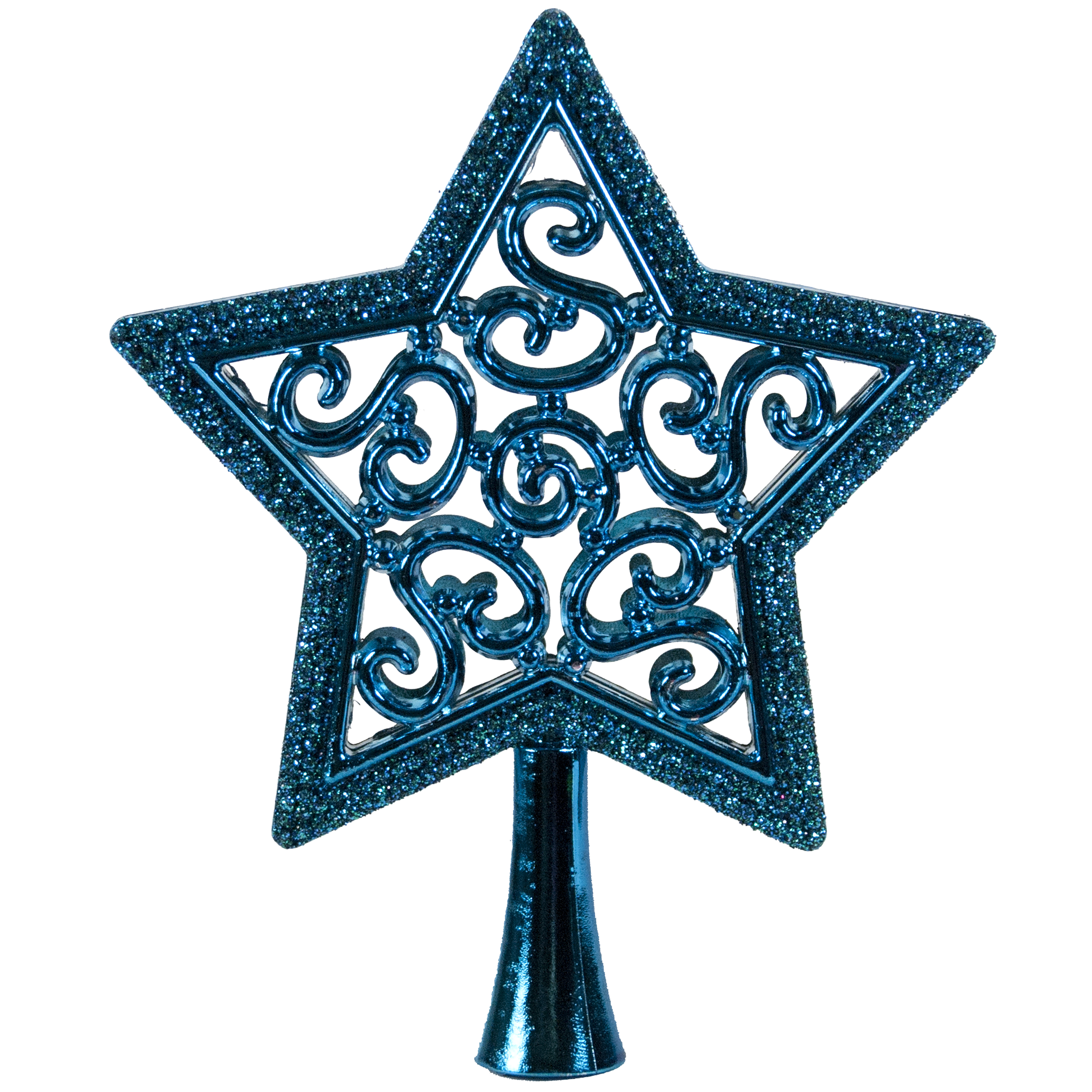 HOLIDAY TIME TEAL STAR MINI TREE TOPPER, 5 INCH
