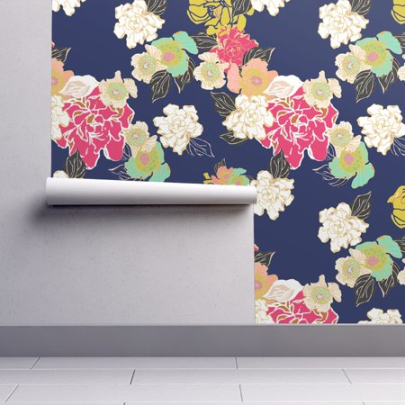 Navy Blue Jungle - Removable Water-Activated Wallpaper Floral Garden Blue Jungle Passion Navy Large