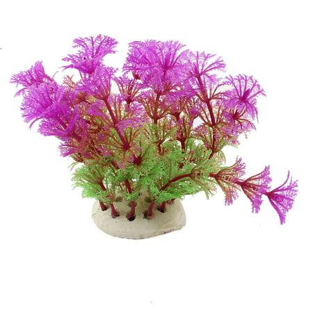 Unique Bargains 4.3  Height Green Fuchsia Artificial Manmade Aquarium Decoration Grass Plants ()