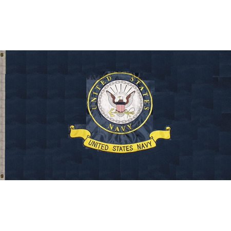 Embroidered Emblems (G128 – US Navy (Emblem) Flag | 3x5 feet | Double Sided Embroidered 210D – Indoor/Outdoor, Vibrant Colors, Brass Grommets, Heavy Duty Polyester,)