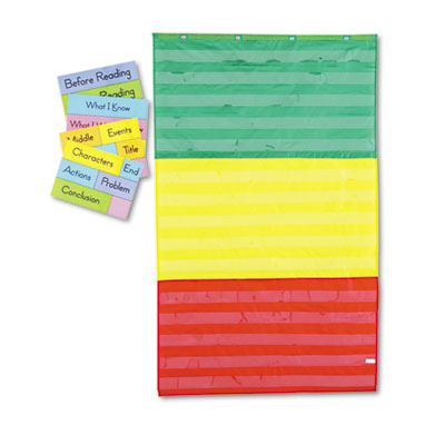 Adjustable Tri-Section Pocket Chart with 18 Color Cards, Guide, 36 x 60, Sold as 1 Each by