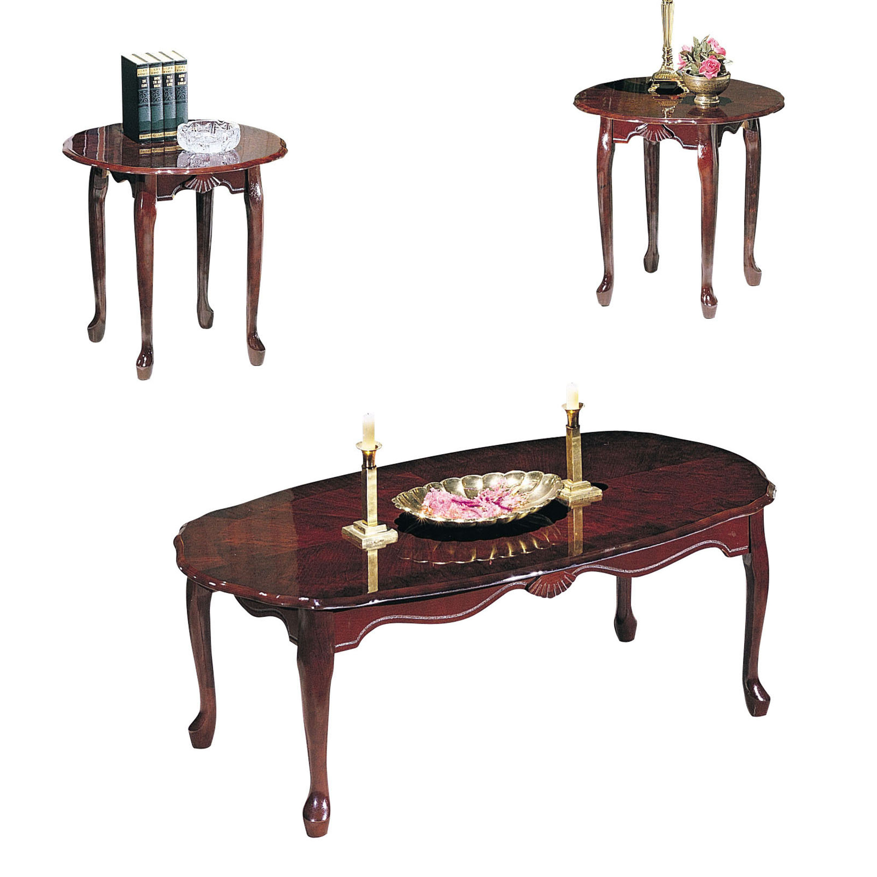 ACME Essex 3-Piece Pack Coffee/End Table Set, Cherry - Walmart.com