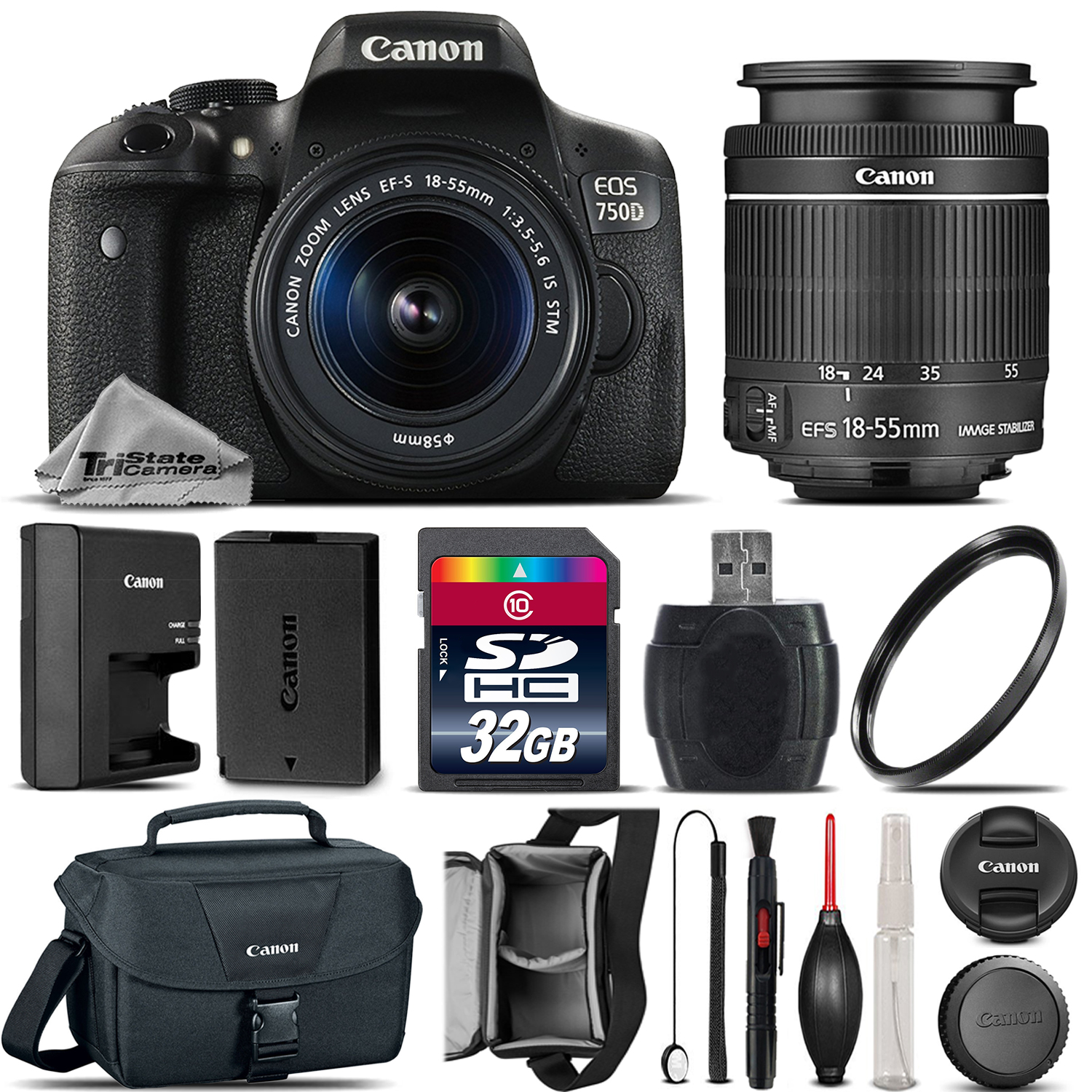 canon eos rebel 750d /t6i camera + 18-55mm is stm lens + canon case - 32gb kit