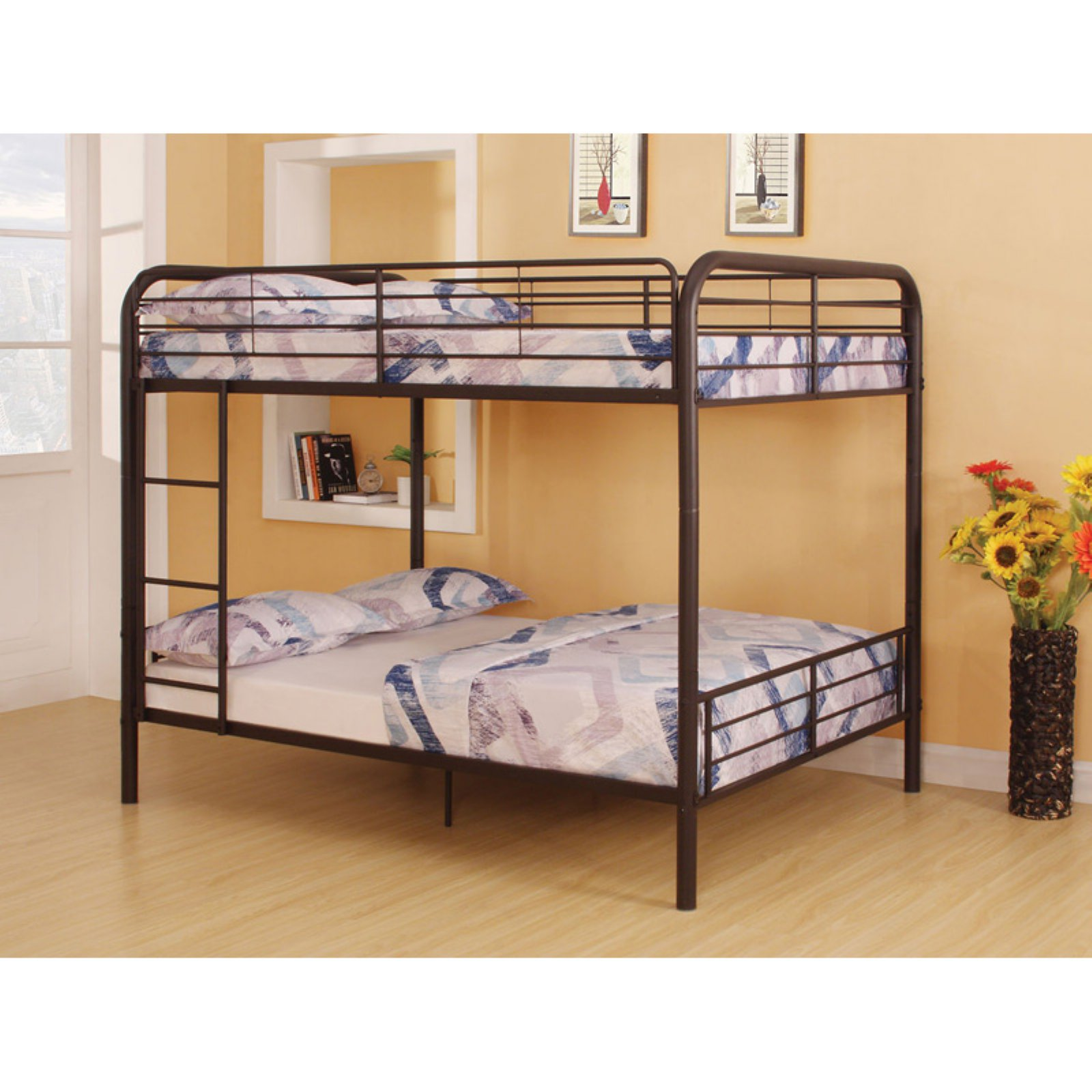 ACME Bristol Full over Full Bunk Bed in Dark Brown, Multiple Finish