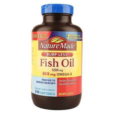 Nature Made Burp Less Fish Oil 1200mg 210 Count Soft Gels