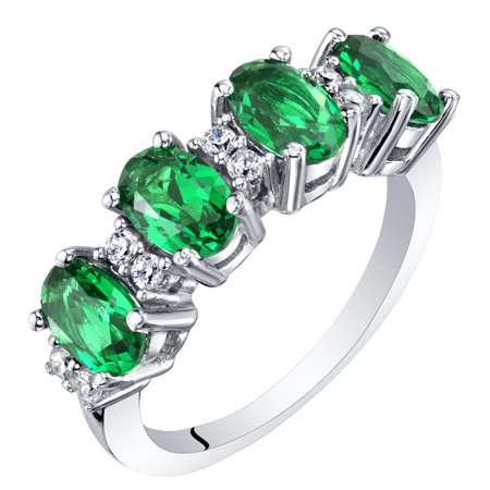 Sterling Silver Oval Cut Simulated Emerald Anniversary Ring Band 2