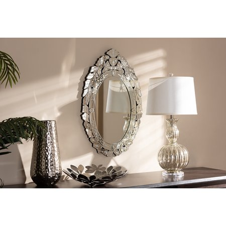 Venetian Lace Accent (Baxton Studio Livia Classic and Traditional Silver Finished Venetian Style Accent Wall Mirror )