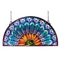 CHLOE Lighting REGAL EUDORA Tiffany-style Peacock Feather Glass Window Panel 35x18