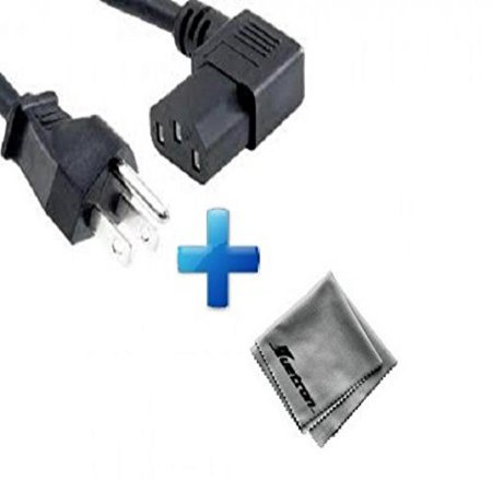 Panasonic PT-AR100U LCD Projector Compatible New 15-foot Right Angled Power Cord Cable (C13/5-15P) Plus Huetron Microfiber Cleaning Cloth (Panasonic Pt Ar100u)