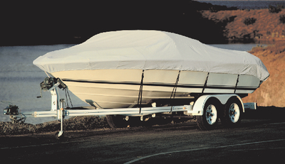 Taylor Acrylic Coated Polyester Gray Hot Shot Fabric BoatGuard Boat Cover with Storage Bag and Tie-Downs, Fits 16' to... by Taylor Made Products