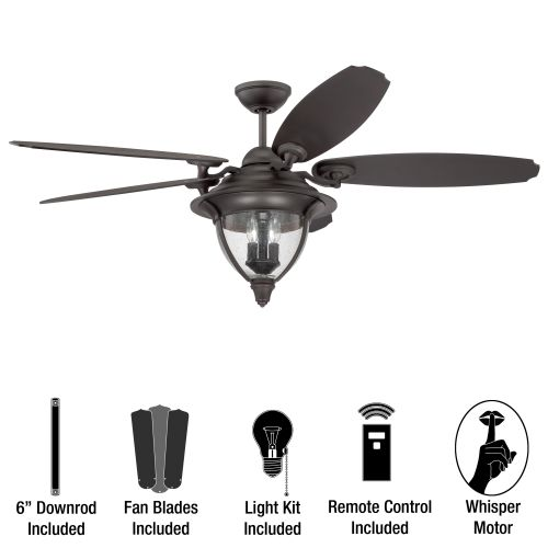 "Miseno MFAN-600 Traditional 56"" Indoor / Outdoor Ceiling Fan with Integrated Lig"