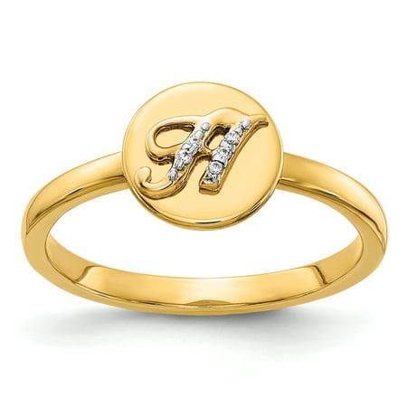 14K Yellow Gold Diamond Initial H Ring (0.015Cttw)