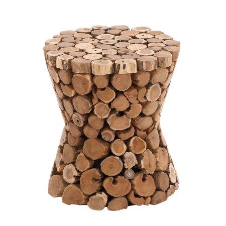 Decmode Rustic 17 X 15 Inch Brown Teak Wood Pedestal Stool - Walmart.com