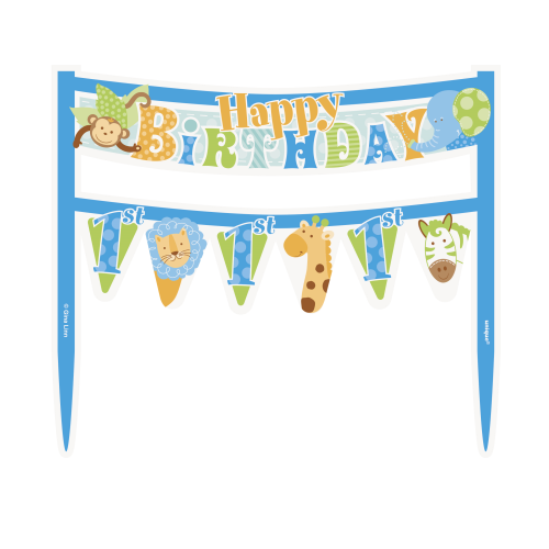 Blue Safari 1st Birthday Cake Banner Kit