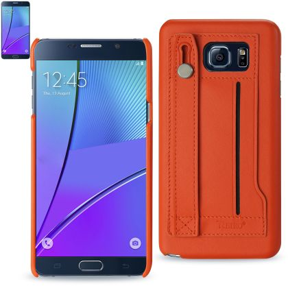 REIKO SAMSUNG GALAXY NOTE 5 GENUINE LEATHER HAND STRAP CASE IN TANGERINE