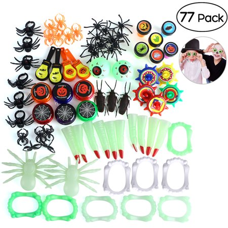 UNOMOR 77pcs 12 Patterns Halloween Toy and Novelty assortment for Trick or Treat Classroom Giveaways Party Favors