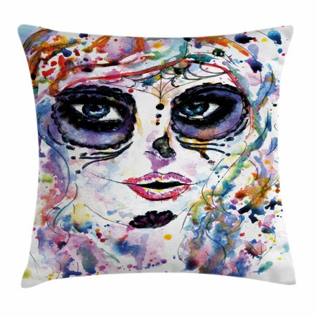 Sugar Skull Decor Throw Pillow Cushion Cover, Halloween Girl with Sugar Skull Makeup Watercolor Painting Style Creepy, Decorative Square Accent Pillow Case, 24 X 24 Inches, Multicolor, by Ambesonne
