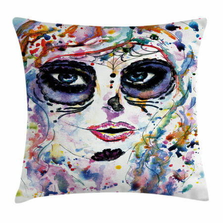 Sugar Skull Decor Throw Pillow Cushion Cover, Halloween Girl with Sugar Skull Makeup Watercolor Painting Style Creepy, Decorative Square Accent Pillow Case, 24 X 24 Inches, Multicolor, by Ambesonne - Tutorial Halloween Makeup Skull