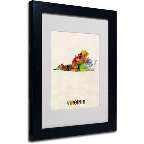 """Trademark Fine Art """"Virginia Map"""" Matted Framed Art by Michael Tompsett, Black Frame"""