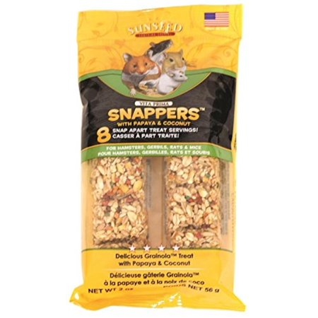 36051 Papaya Coconut Vita Prima Snappers For Hamsters/Rats/Gerbils, 2 Oz, Granola Style Treats In 8 Snap Apart Daily Servings Baked With Papaya Coconut &.., By Sunseed Company